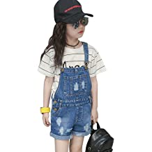 a5e10874e6e2 LAVIQK Girls Little Big Kids Denim Bib Overalls Jumpsuit Boyfriend Jeans  Denim Romper Shortalls